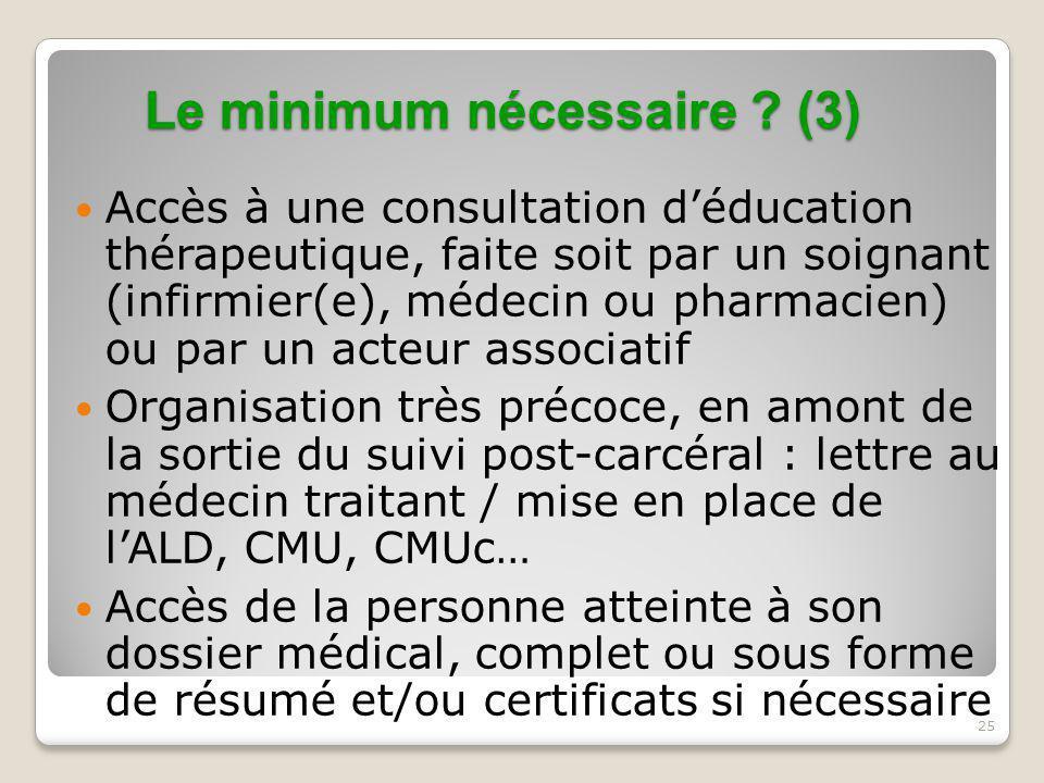Le minimum nécessaire (3)