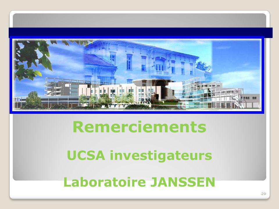 Remerciements UCSA investigateurs Laboratoire JANSSEN