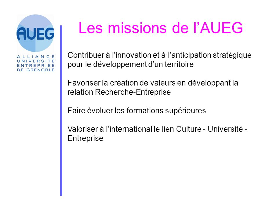 Les missions de l'AUEG Contribuer à l'innovation et à l'anticipation stratégique pour le développement d'un territoire.