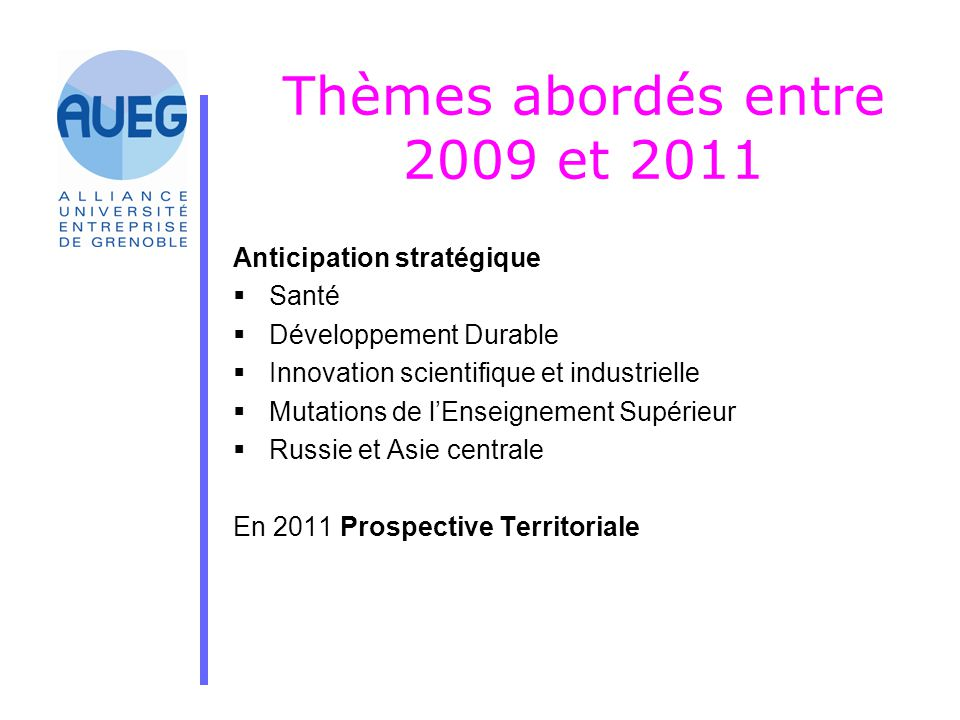 Thèmes abordés entre 2009 et 2011