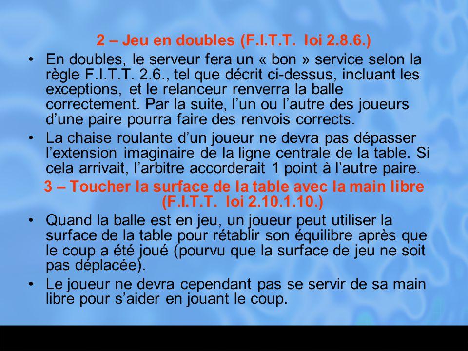 2 – Jeu en doubles (F.I.T.T. loi 2.8.6.)