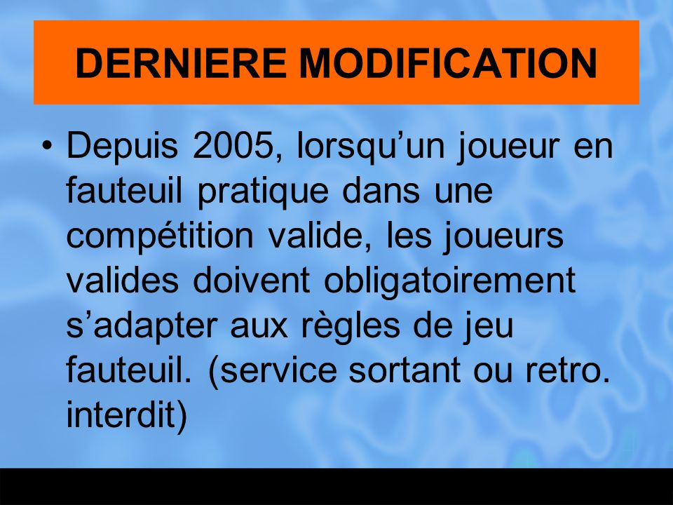 DERNIERE MODIFICATION