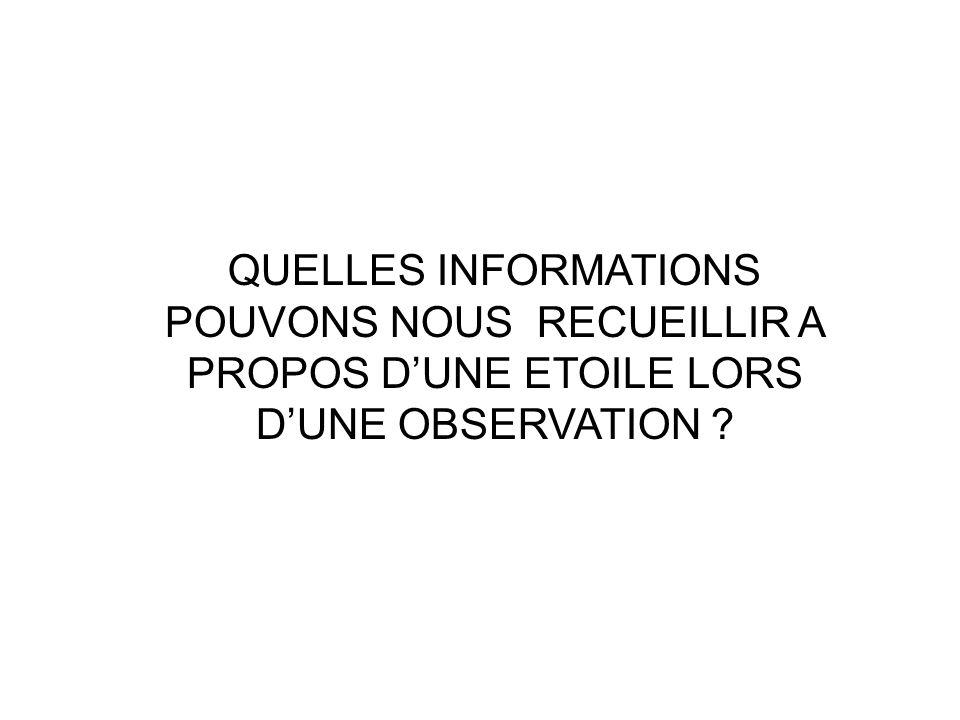 QUELLES INFORMATIONS POUVONS NOUS RECUEILLIR A PROPOS D'UNE ETOILE LORS D'UNE OBSERVATION