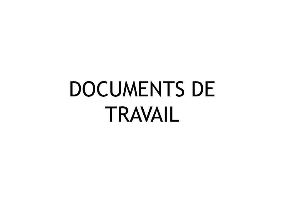 DOCUMENTS DE TRAVAIL