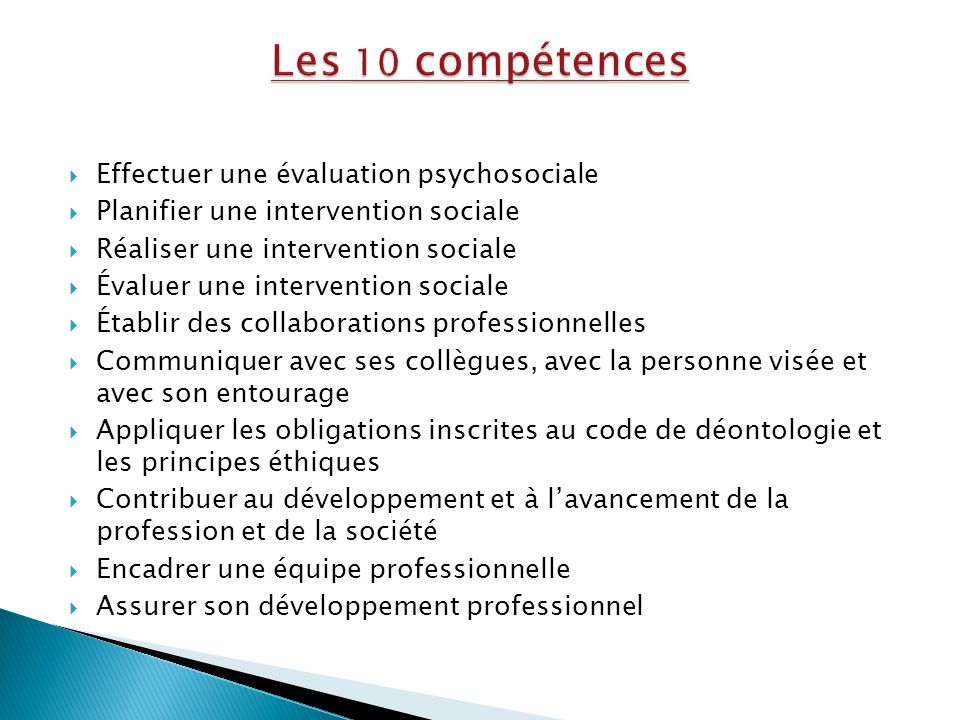 Les 10 compétences Effectuer une évaluation psychosociale