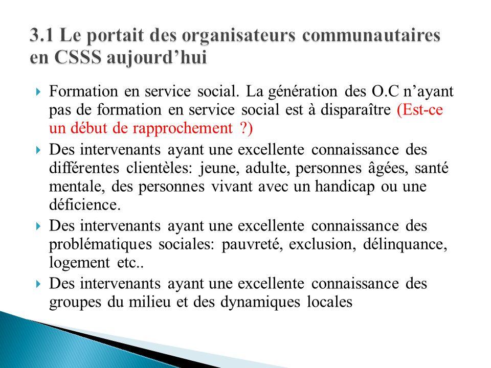 3.1 Le portait des organisateurs communautaires en CSSS aujourd'hui
