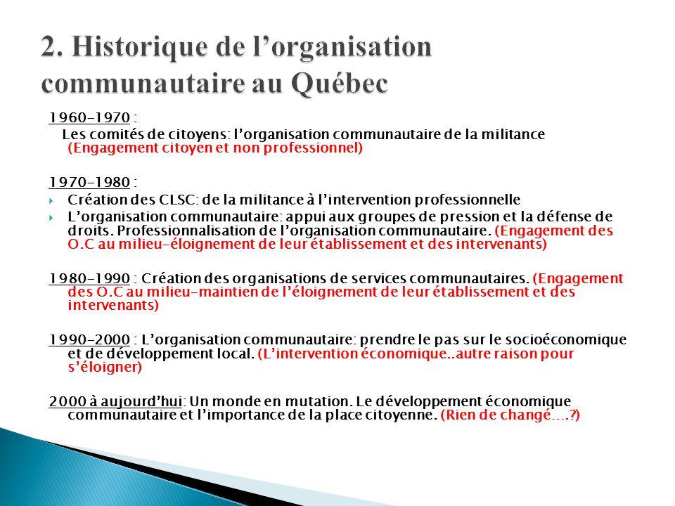 2. Historique de l'organisation communautaire au Québec