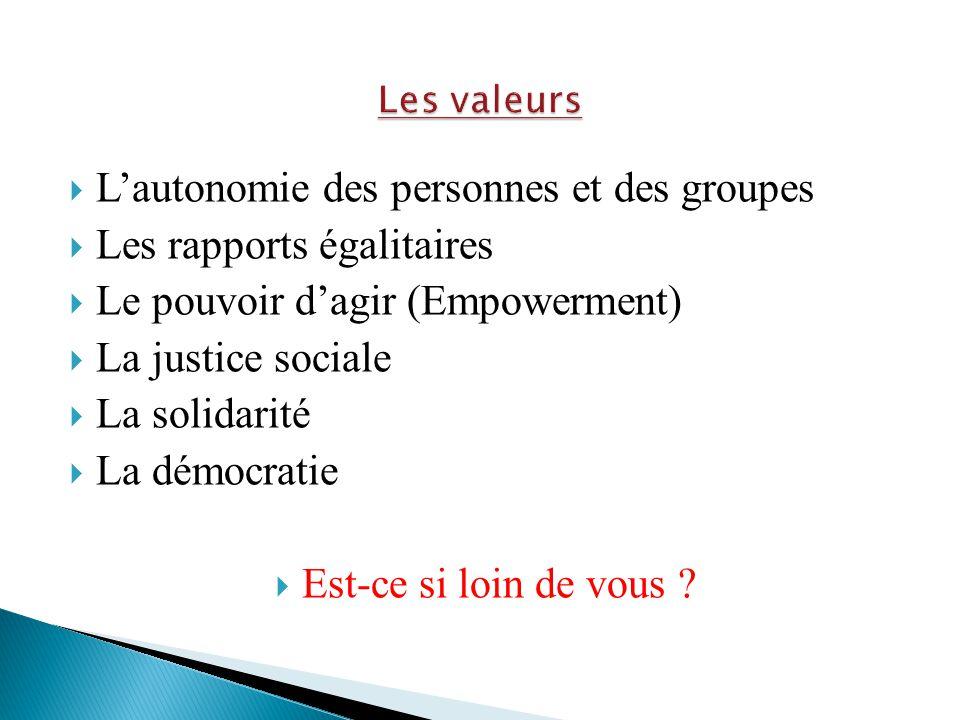 Les valeurs L'autonomie des personnes et des groupes