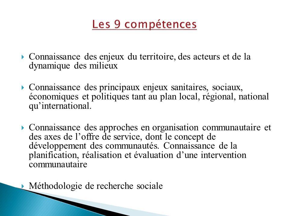 Les 9 compétences Connaissance des enjeux du territoire, des acteurs et de la dynamique des milieux.