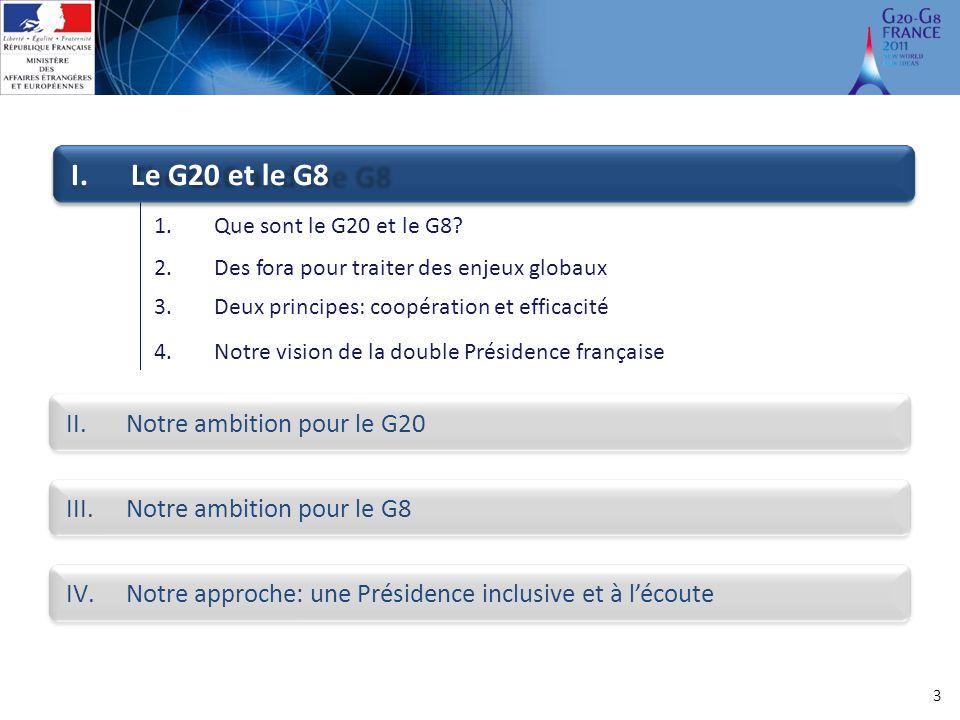 Le G20 et le G8 Notre ambition pour le G20 Notre ambition pour le G8