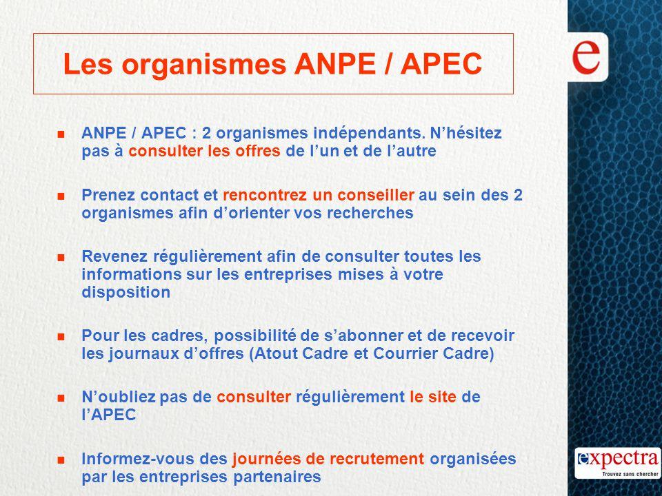 Les organismes ANPE / APEC