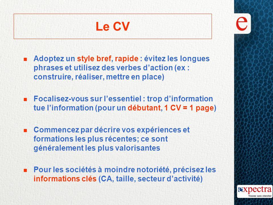 Le CV Adoptez un style bref, rapide : évitez les longues phrases et utilisez des verbes d'action (ex : construire, réaliser, mettre en place)