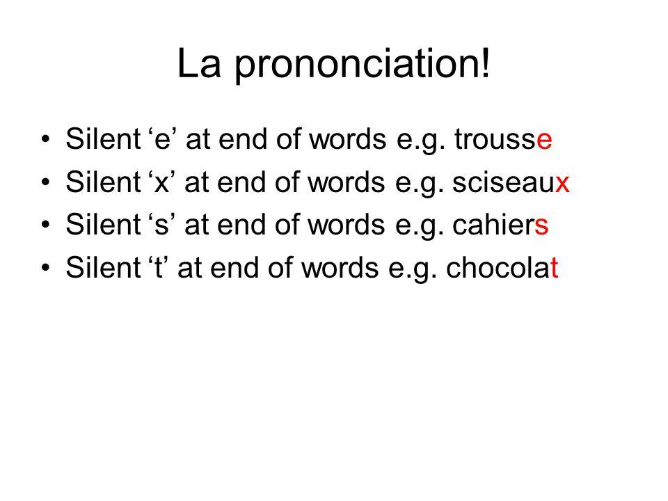 La prononciation! Silent 'e' at end of words e.g. trousse