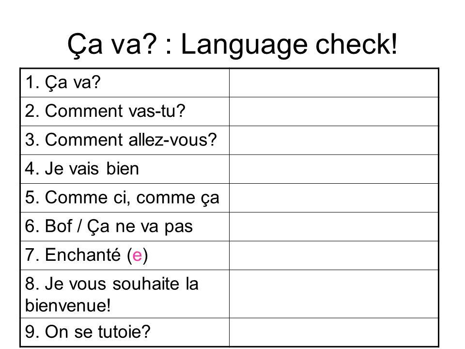 Ça va : Language check! 1. Ça va 2. Comment vas-tu