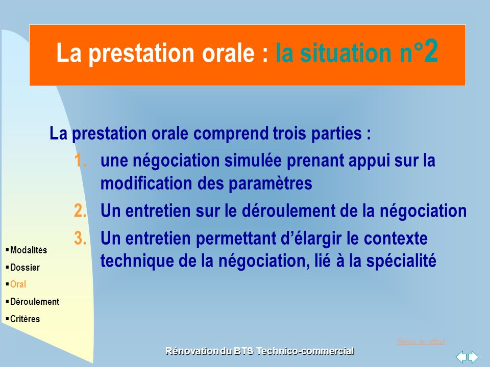 La prestation orale : la situation n°2