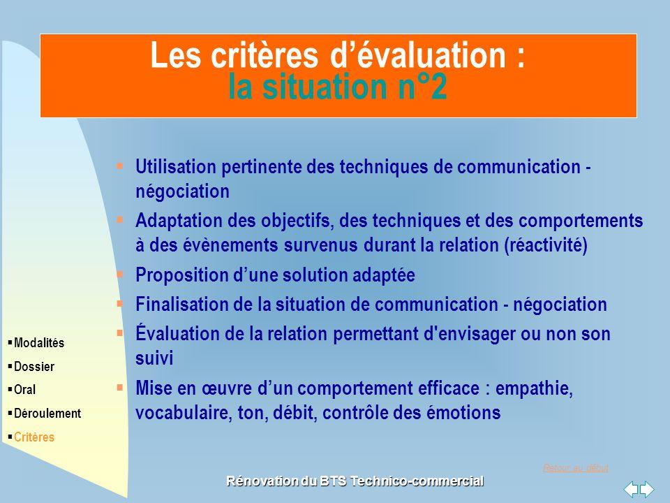 Les critères d'évaluation : la situation n°2