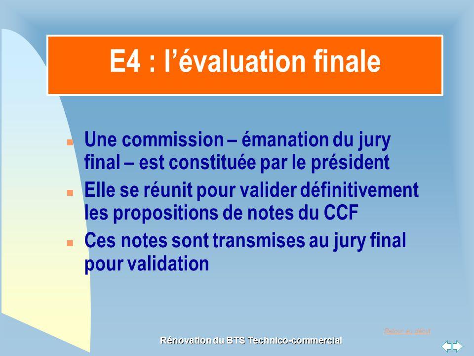 E4 : l'évaluation finale