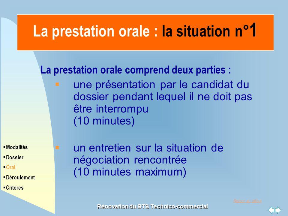 La prestation orale : la situation n°1