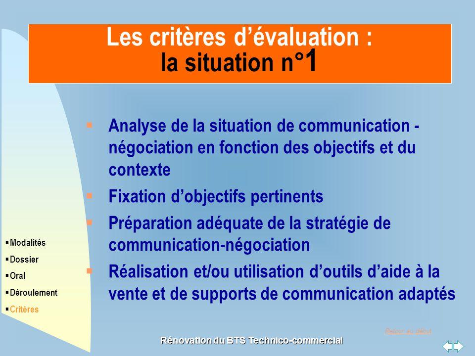 Les critères d'évaluation : la situation n°1