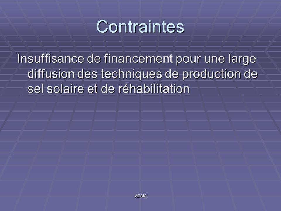 Contraintes Insuffisance de financement pour une large diffusion des techniques de production de sel solaire et de réhabilitation.