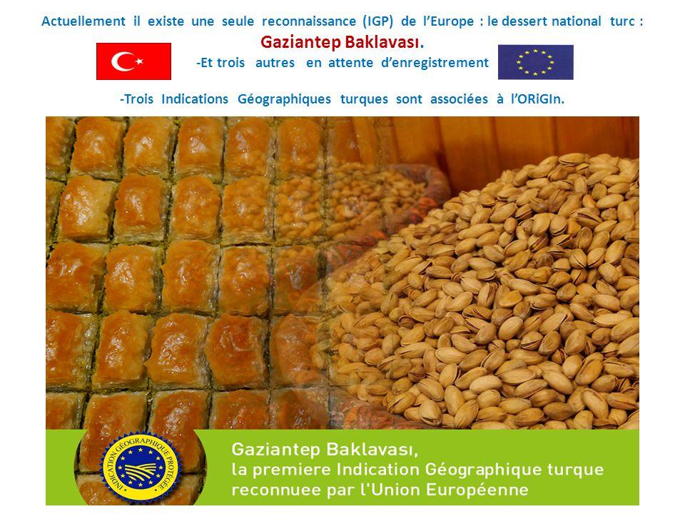 Actuellement il existe une seule reconnaissance (IGP) de l'Europe : le dessert national turc : Gaziantep Baklavası.