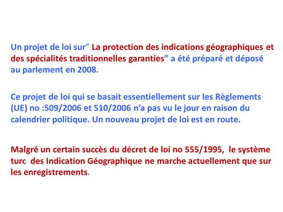 Un projet de loi sur La protection des indications géographiques et des spécialités traditionnelles garanties a été préparé et déposé au parlement en 2008.