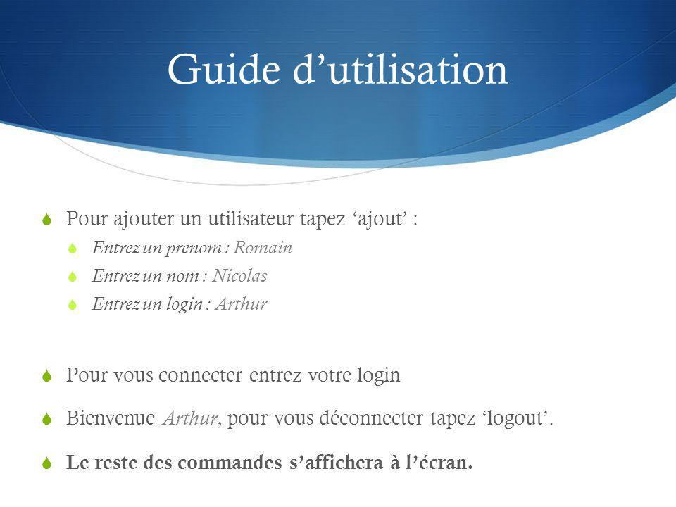 Guide d'utilisation Pour ajouter un utilisateur tapez 'ajout' :