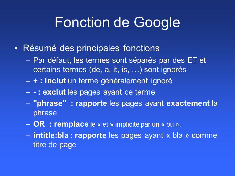 Fonction de Google Résumé des principales fonctions