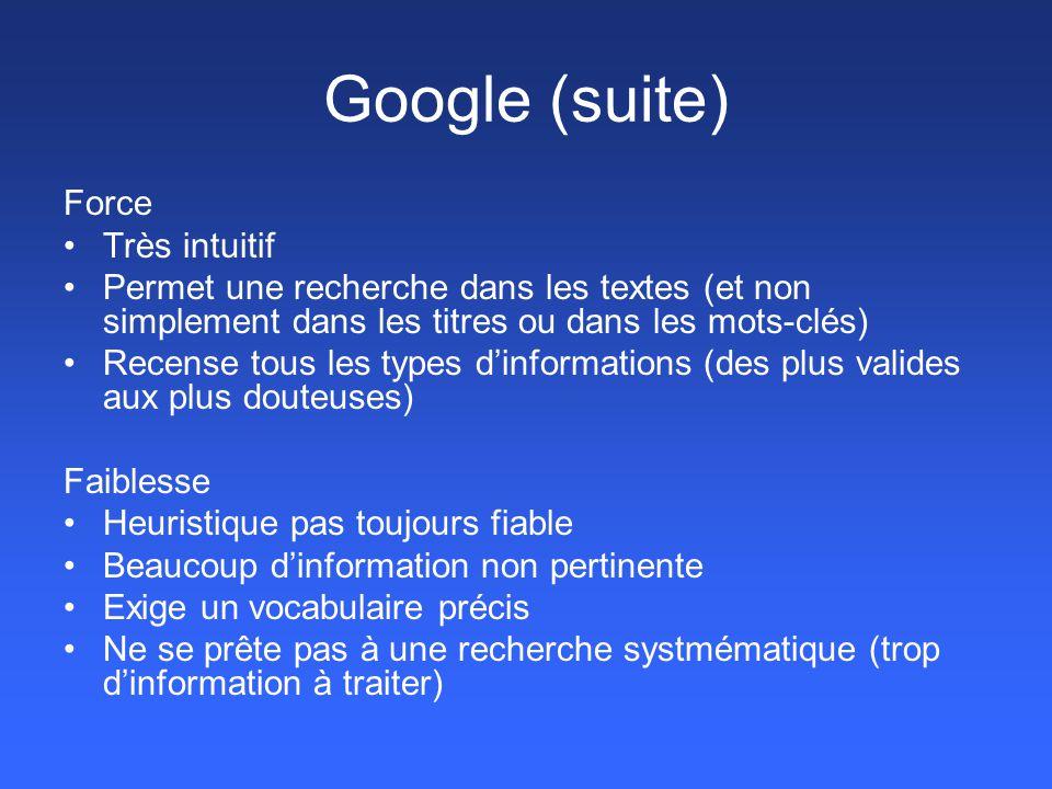 Google (suite) Force Très intuitif