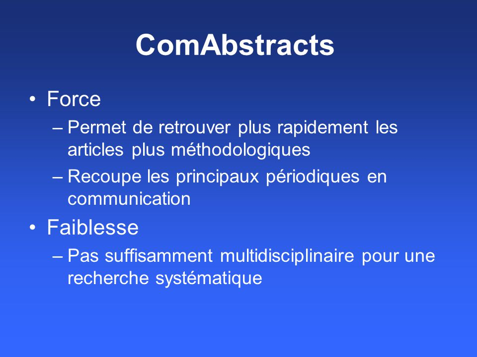 ComAbstracts Force Faiblesse