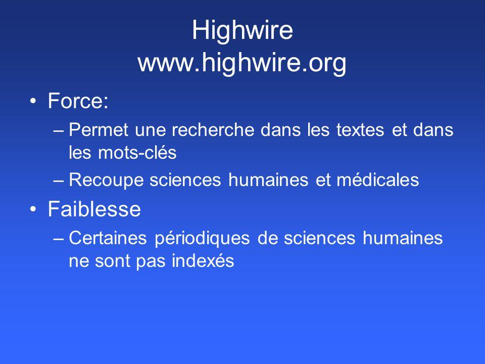 Highwire www.highwire.org