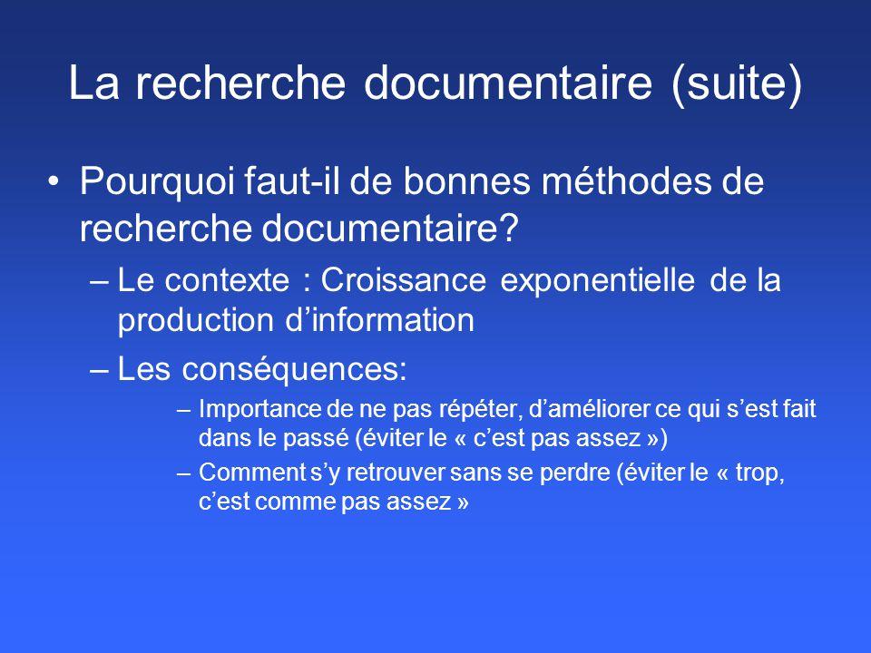 La recherche documentaire (suite)