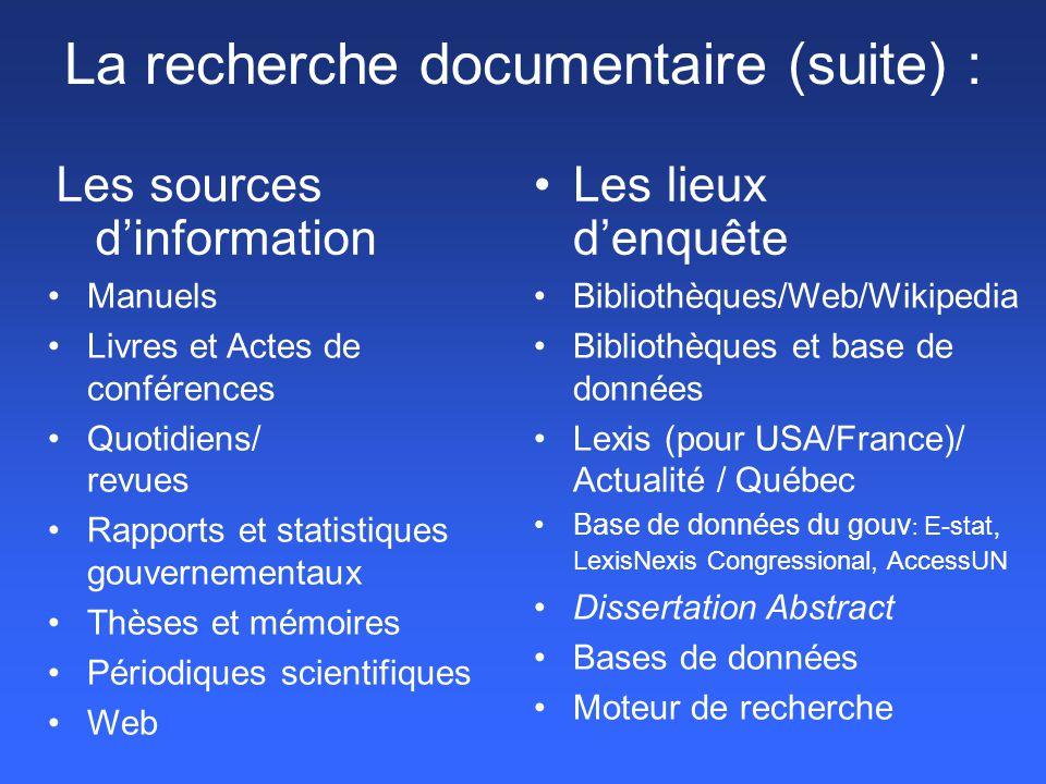 La recherche documentaire (suite) :
