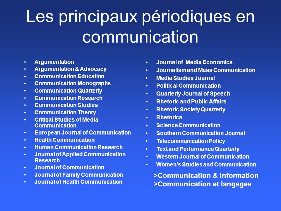Les principaux périodiques en communication