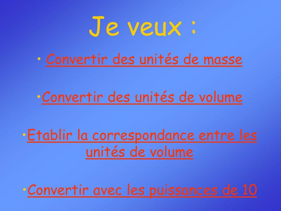 Je veux : Convertir des unités de masse Convertir des unités de volume