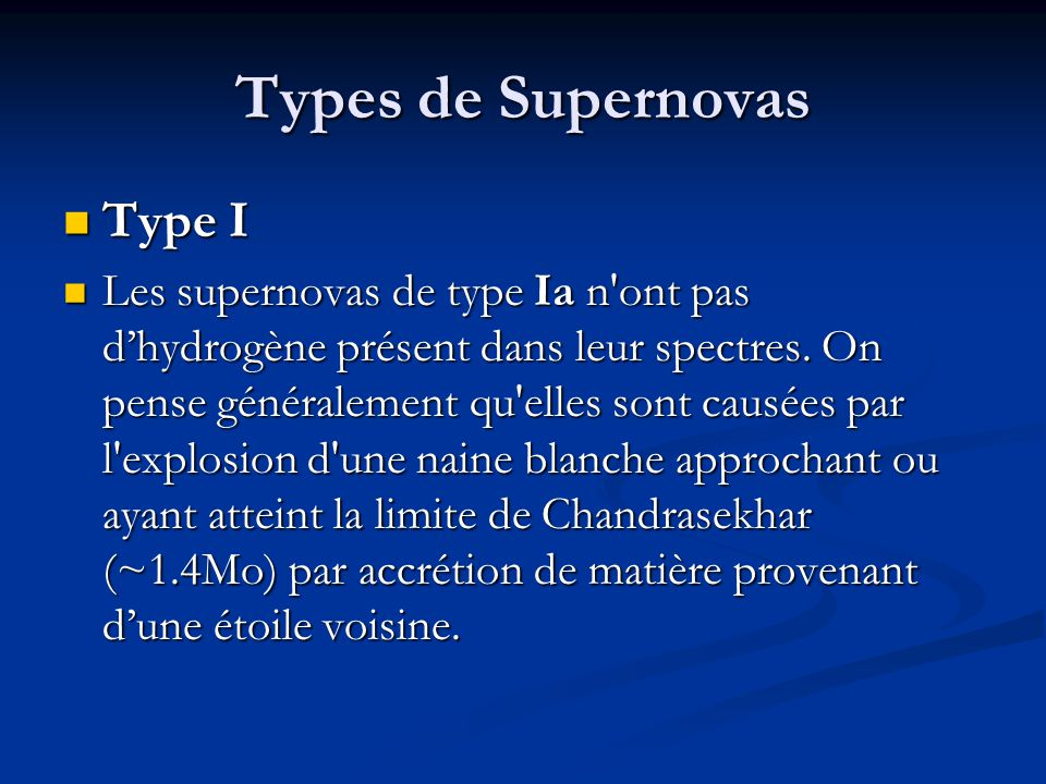 Types de Supernovas Type I