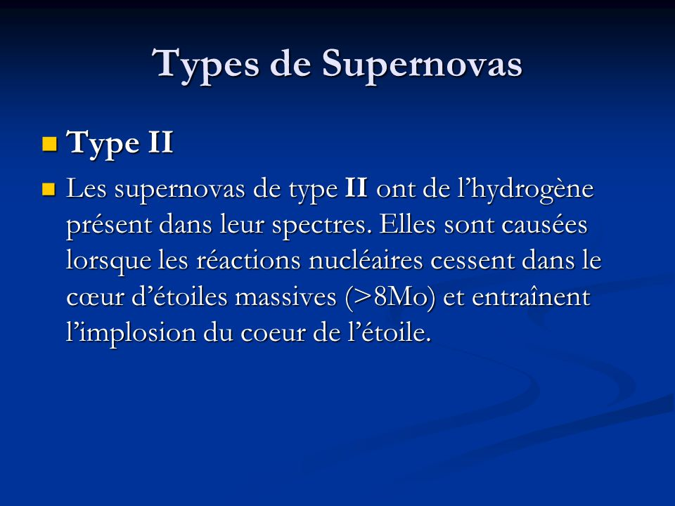 Types de Supernovas Type II