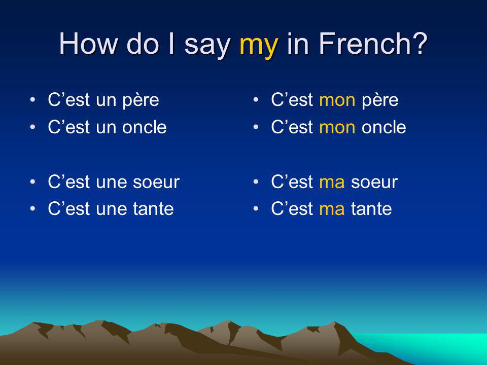 How do I say my in French C'est un père C'est un oncle