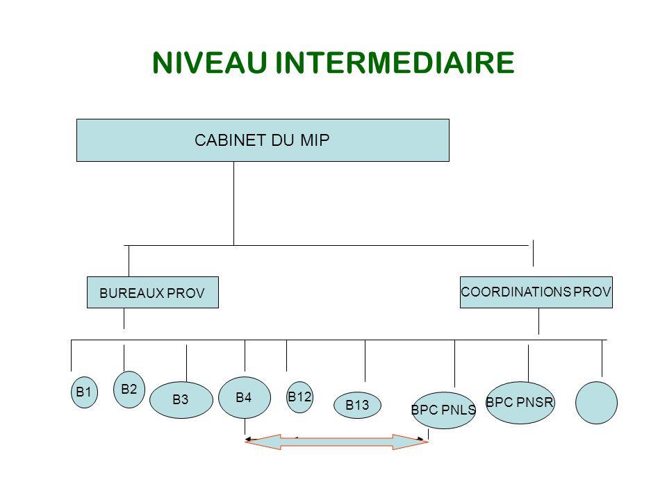 NIVEAU INTERMEDIAIRE CABINET DU MIP BUREAUX PROV COORDINATIONS PROV B2