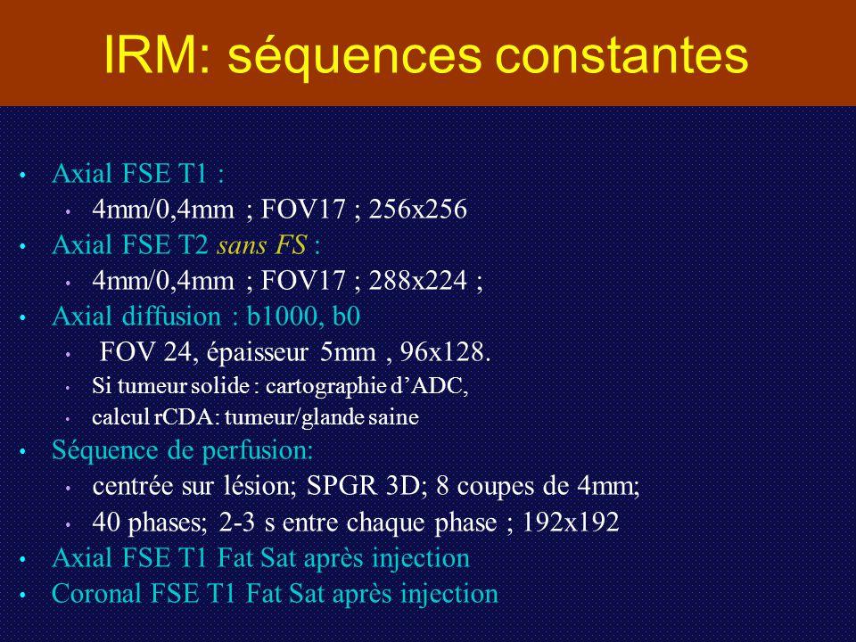 IRM: séquences constantes
