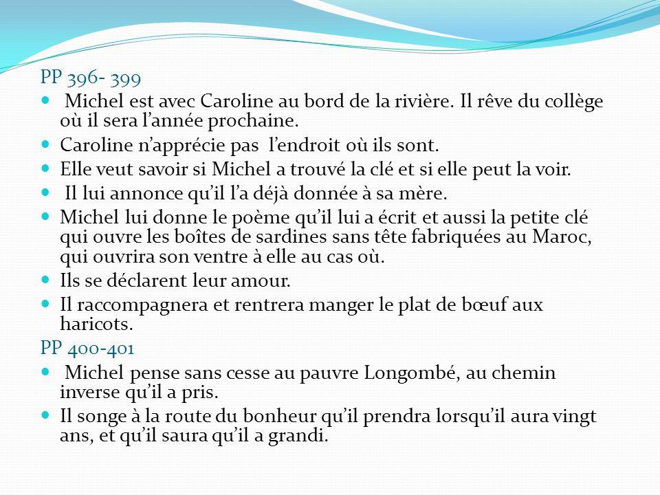 PP 396- 399 Michel est avec Caroline au bord de la rivière. Il rêve du collège où il sera l'année prochaine.