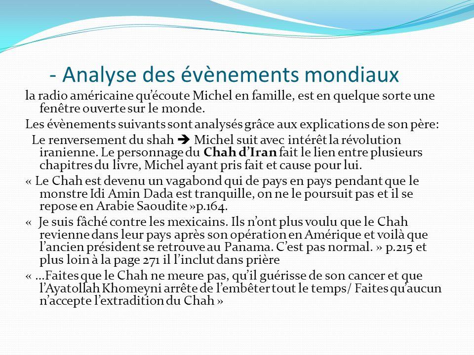 - Analyse des évènements mondiaux