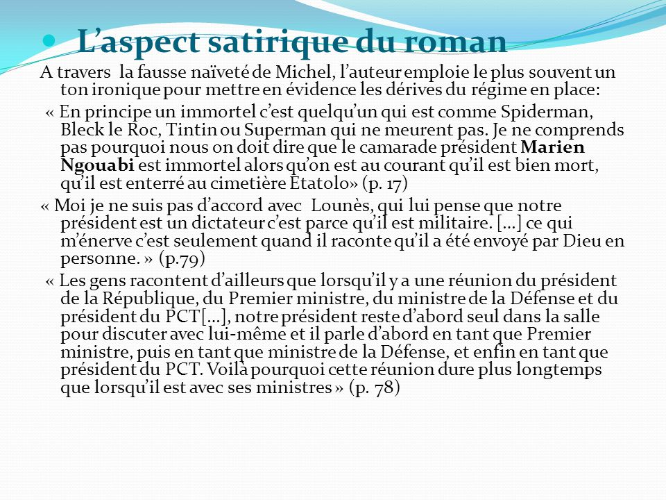 L'aspect satirique du roman