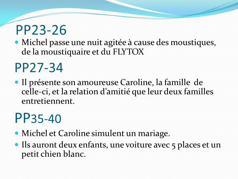 PP23-26 Michel passe une nuit agitée à cause des moustiques, de la moustiquaire et du FLYTOX. PP27-34.