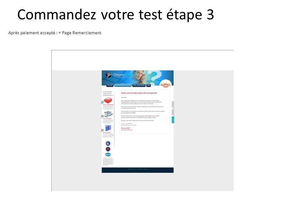 Commandez votre test étape 3