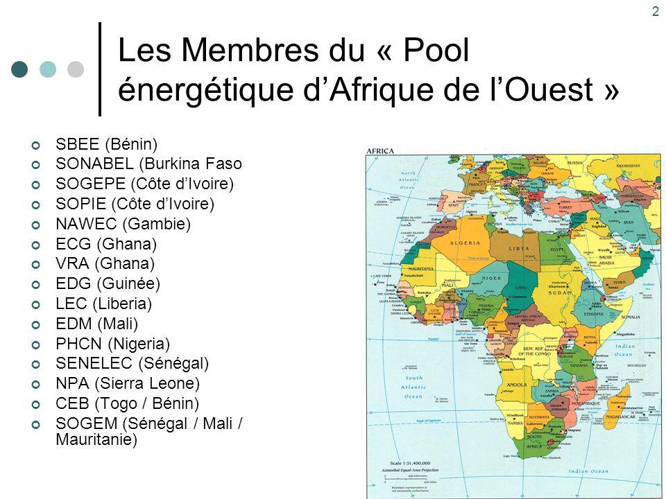 Les Membres du « Pool énergétique d'Afrique de l'Ouest »