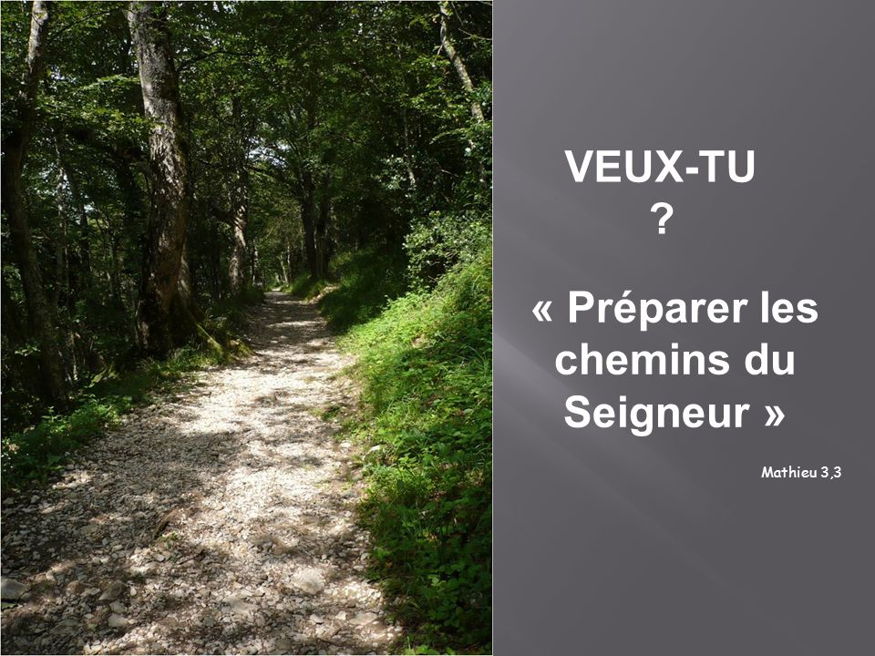 « Préparer les chemins du Seigneur »