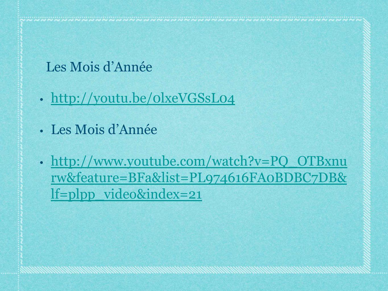 http://youtu.be/0lxeVGSsL04 Les Mois d'Année.