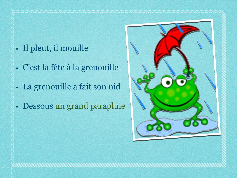 Il pleut, il mouille C est la fête à la grenouille.