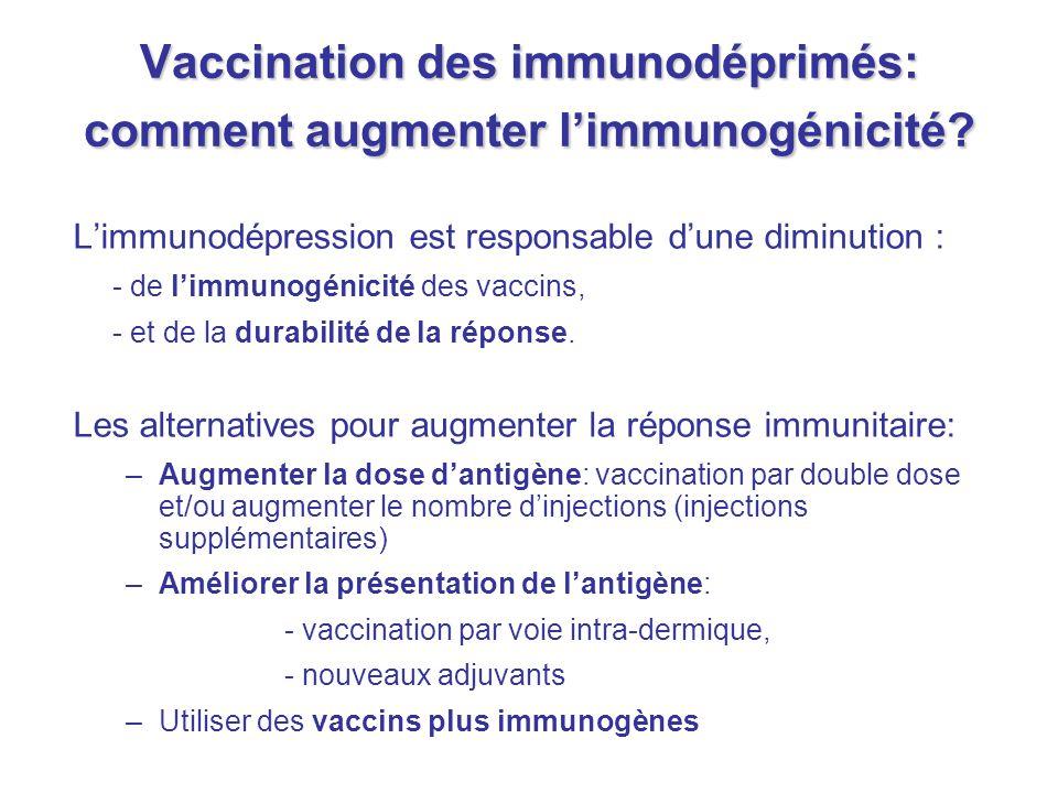 Vaccination des immunodéprimés: comment augmenter l'immunogénicité